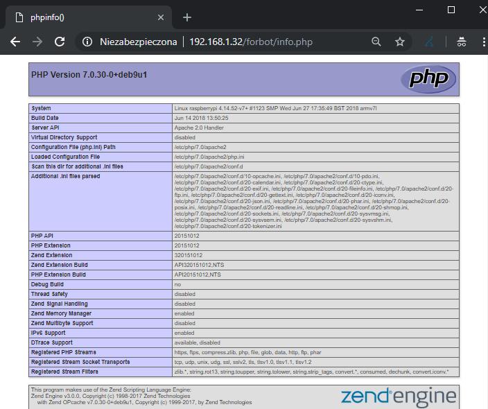 Informacje na temat zainstalowanego PHP.