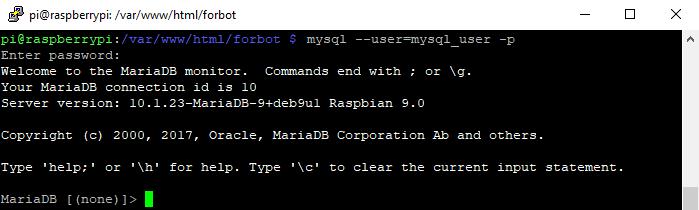 Logowanie do MySQL jako nowy użytkownik.