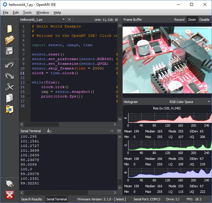 Środowisko OpenMV IDE.