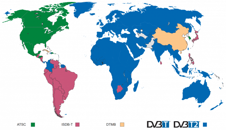 Dostępność telewizji DVB. Źródło: https://www.dvb.org