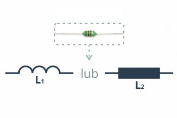 Przykładowy dławik oraz dwa(używane zamiennie) symbole