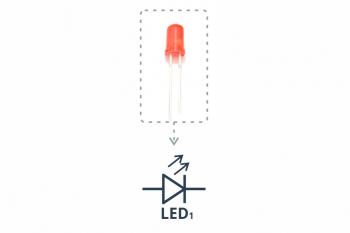 Przykładowa dioda i symbolstosowany na schematach.