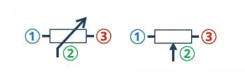 Symbole potencjometrów używane na schematach