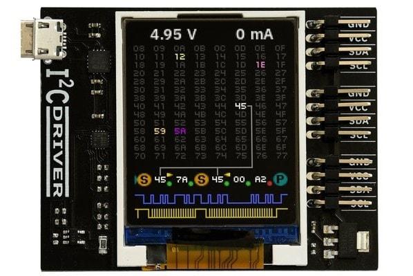 I2CDriver z widocznym złączem USB i 3 złączami I2C