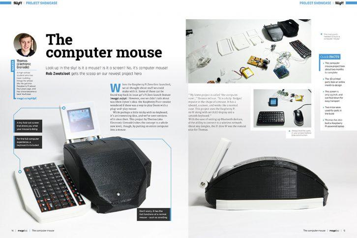 Projekt myszy-komputera ze zintegrowanym wyświetlaczem i klawiaturą
