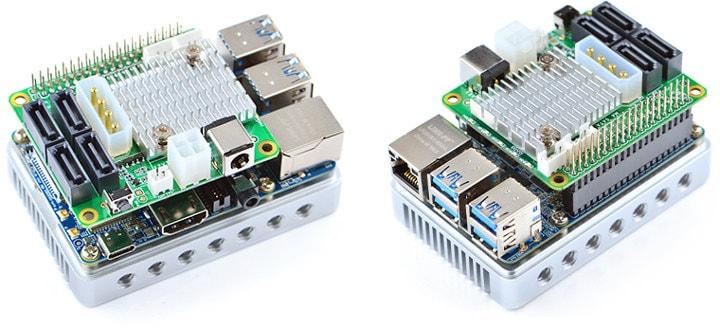 Rozszerzenie M4 SATA HAT zamontowane na NanoPi M4