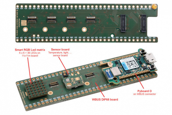 Oprócz Pyboard D, autor przygotował też system modułów rozszerzeń