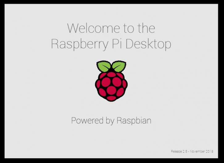 Ekran powitalny systemu Raspbian