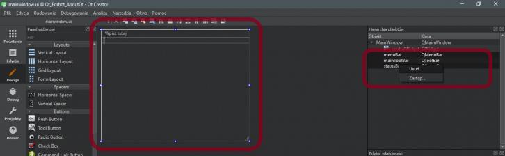 Pierwsze kroki podczas edycji interfejsu w Qt - usunięcie zbędnych elementów