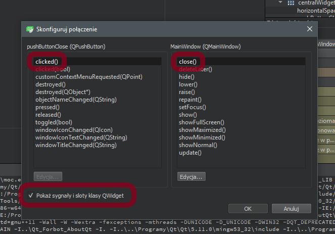 Opcje dostępne podczas konfiguracji sygnałów i slotów w Qt