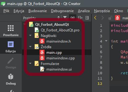 Drzewo pierwszej aplikacji w Qt