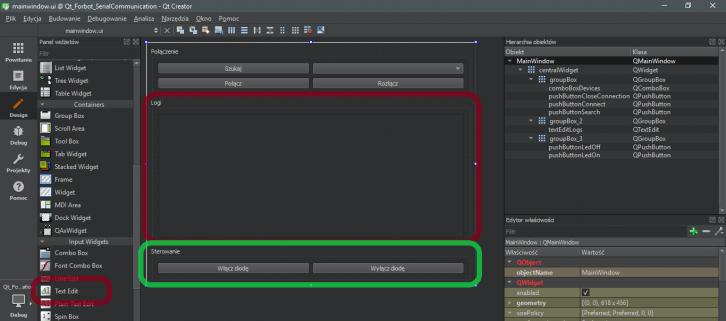 Rozbudowana wersja interfejsu programu w Qt