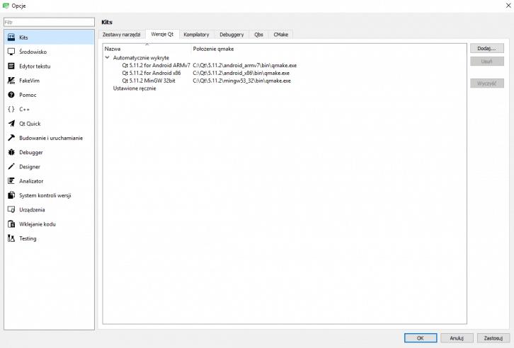 Poprawny widok dostępnych wersji Qt
