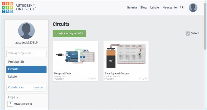 Tinkercad Dashboard – dostępne projekty w sekcji Circuits