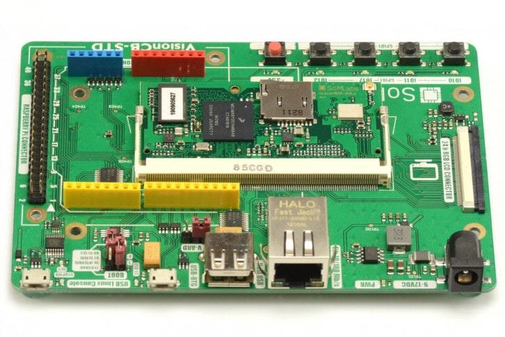 Płytka VisionCB-6ULL-STD z wpiętym modułem VisionSOM-6ULL