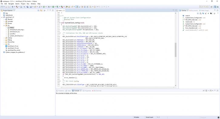 Widok przykładowego projektu dla STM32MP1