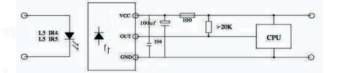 Schemat podłączenia odbiornika VS1838B (fragment noty katalogowej)