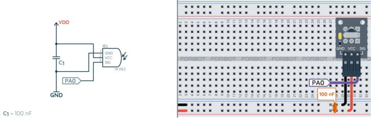 Schemat ideowy i montażowy odbiornika IR