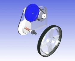 Przykład prostej, 2-stopniowej przekładni pasowej, przenoszącej napęd z silnika elektrycznego DC na koło