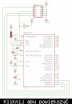 Prawidowe, pełne podłączenie pinów popularnego mikrokontrolera ATmega8 (ISP to złącze programowania, z ang. In-System Programming)