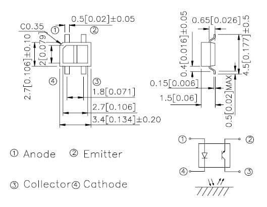 Wymiary i schemat KTIR0711S (źródło: nota katalogowa)