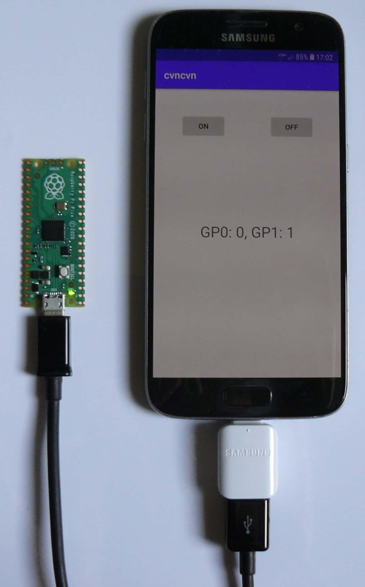 Komunikacja Raspberry Pi Pico z aplikacją na Androida poprzez przewód USB [C/Java]